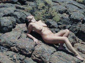 jag på nudist stranden